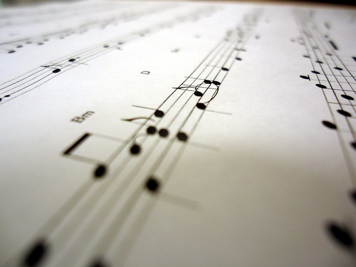 Closeup of a musical score