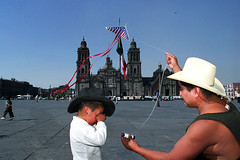 Papalote (mexadrian) Tags: city kite mexico photo cathedral flag concept zocalo papalote