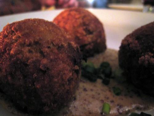 Boudin Balls in Creole Mustard Cream Sauce