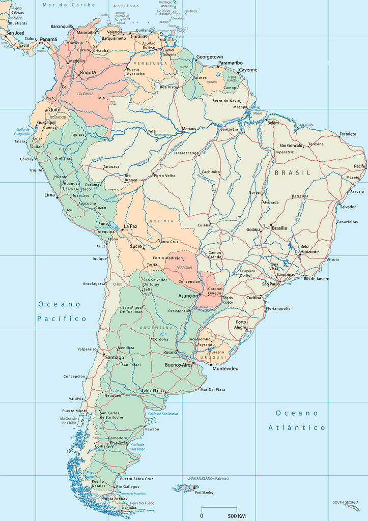 Mapa da América do Sul -  mapa de América del Sur - map of South America