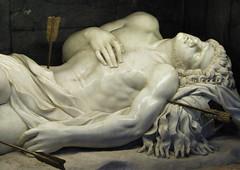 Detail of St Sebastian (Lawrence OP) Tags: rome saint statue death shrine roman basilica arrows marble martyr bernini stsebastian