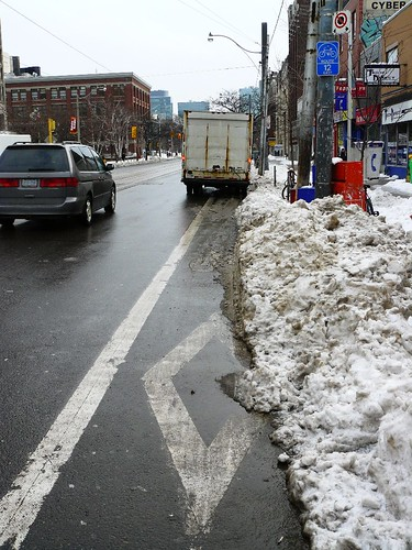 snow in bike lane