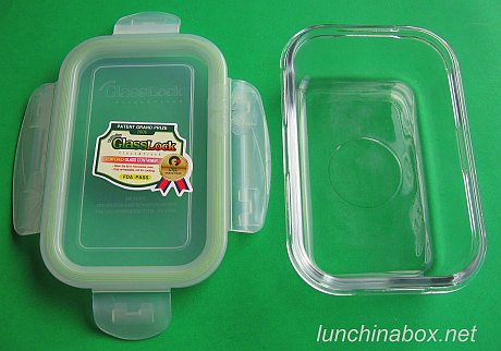 Tempered glass bento box (open)