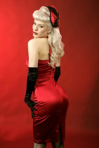 Jessica White in the Bad Girl Dress in Red Satin by Pinup Couture