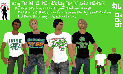 .-*-. HANG THE DJ! .-*-.  Men's St. Patrick's Day Dollarbies - 4 Shirt Fat-Packs! YAY!