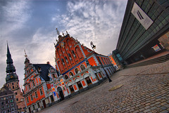Spire  ~ House of Blackheads and Museum of Occupation ~ Cobbled Square ~ Riga ~ Latvia (Magdalen Green Photography) Tags: architecture cool latvia spire cobbles riga museumofoccupation orangegrey houseofblackheads cobbledsquare