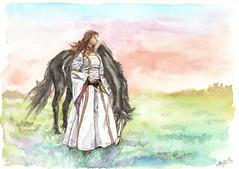 Prinzessin mit Pferd im Abendrot - Aquarell (Dorothee Rie) Tags: horse art girl cheval drawing kunst wiese skirt medieval fantasy watercolours pferd mdchen zeichnung aquarell kleid mittelalter waldrand mittelalterlich