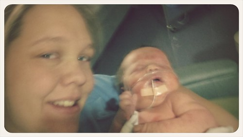 Holding my boy for the first time!!!! No more intubation!!!!