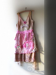 Rose Truffle dress (AllThingsPretty) Tags: pink brown hot flower coffee rose vintage silver gold soft hand candy lace antique metallic buttons indian stripe tan cream silk polka dot pale sparkle etsy gypsy applique patches embroidered bohemian dyed ecru tatted