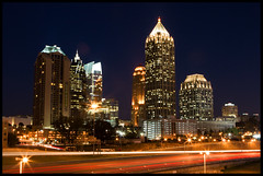 Midtown by Night (Nrbelex) Tags: road longexposure atlanta fab skyline canon buildings georgia 2470mml highway cityscape atl headlights midtown explore atlantaskyline atlanticstation dslr taillights atlantageorgia roadway 17thstreet traffictrails 2470mm midtownatlanta 2470mmf28 17thstreetbridge xti ef2470mm 400d nrbelex