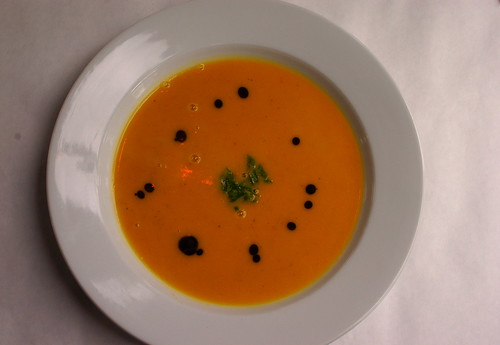 butternut squash soup with pumpkin seed oil
