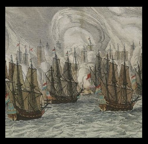battle sail ships in 1647 near Brazil (detail)