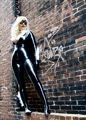 Black Cat Wall (BelleChere) Tags: rooftop blackcat costume comic cosplay spiderman marvel bellechere