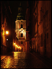 Old Town in Poznan (Hechlok) Tags: old light reflection church architecture night buildings reflections lights town bravo nightshot perspective lanterns lantern oldtown slowshutterspeed pozna poznan hugsandkisses blueribbonwinner 10faves aplusphoto megashot platinumheartaward wonderfulworldmix