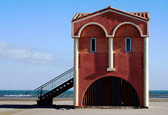 Just Face to the Sea... (Firenzesca) Tags: sea house france beach amazing funny vivid incredible languedocroussillon cubism blueribbonwinner portlanouvelle 35faves golddragon mywinners supershots anawesomeshot superhearts colourartaward artlegacy colourartawards theperfectphotographer superperfectphotographer expressivearchitecture lanovla