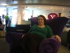 Ann in the big purple chair
