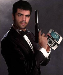 bond... james bond ( Helder) Tags: selfportrait me pose gun phone ericsson suit tuxedo bond remote 365days 365gadgets