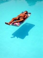 Sleeping on the pool...