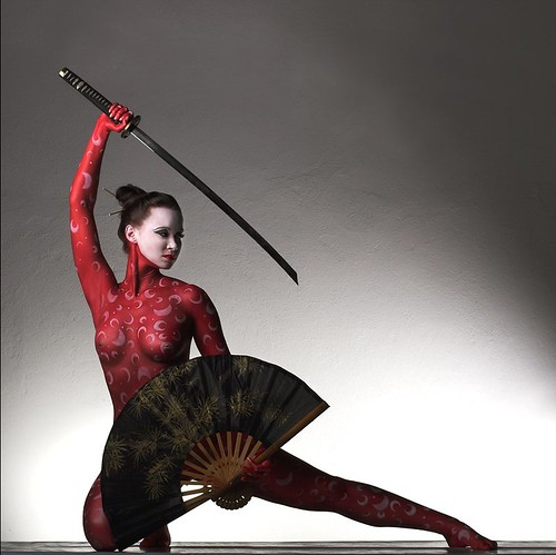 Sexy Girl in the Red Body Painting with Samurai - Japanese soldier body painting design