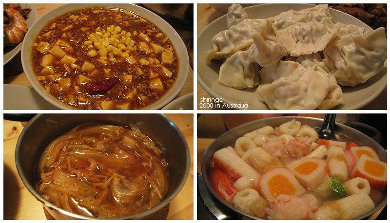 年菜之二:麻婆豆腐, 水餃, 豆豉滷白菜, 火鍋~