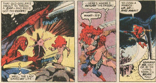 Spiderman grabs Red Sonja's lady lumps