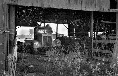 Old Truck in a Barn - bw400cn