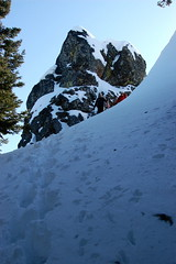 Opus and Jack descending chute.