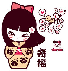 Kokeshi& little bird (charuca) Tags: pink cute japan character style syren kawaii octopus kokeshi sirena pulpo charuca