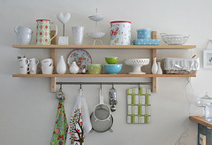 Spring inspired shelfs (Craft & Creativity) Tags: blue white green ikea kitchen design spring interior polka shelf decorating dots shelfs greengate