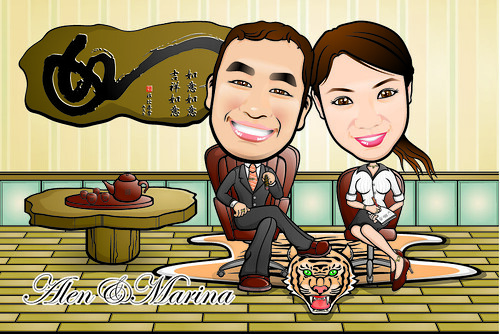 Q-Digital Caricatures - Chinese Tea-Time