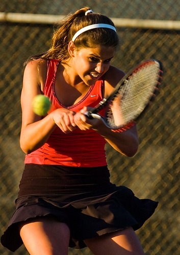 Palos Verdes' Brooke Schweyer makes a backhand return during a CIF semifinal