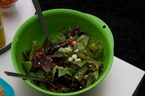 mixed greens with grilled peppers & feta