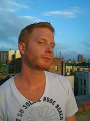 code red (redjoe) Tags: new york city nyc light sunset sky cloud sun man rooftop me self beard evening ginger manhattan joe redhead redhair redjoe joehorvath