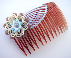 Brown and Blue Vintage Flowers Hair Comb / Barrette