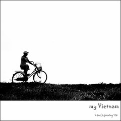 this is my country (Zenith Phuong) Tags: bw white black girl grass bike bicycle square asian countryside asia alone loneliness pedaling feminine small country ground vietnam lonely oriental orient hanoi pedal indochina zenithphuong 25faves abigfave impressedbeauty aplusphoto earthasia