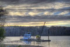 HDR River Sunrise (R72Pitcher) Tags: sunrise river boat pentax crane tug hdr 3xp photomatix