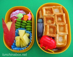 Frozen waffle bento lunch for preschooler