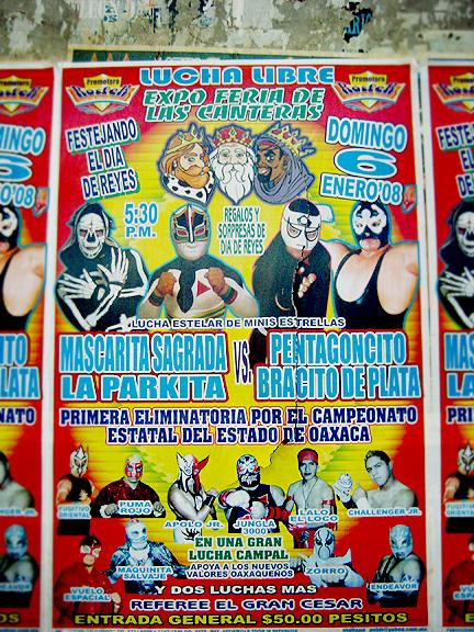 La Lucha Libre Poster in Oaxaca