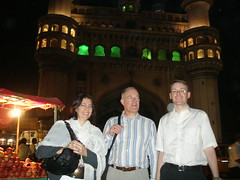 Alejandra, Ray and Graham the Charminar, Hyderabad
