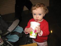 Zoe drinks her Jamba