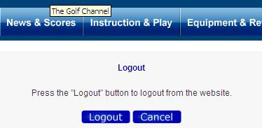 The Golf Channel's logout button