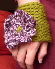 A wrist cuff/corsage I made for me! (KnitStorm) Tags: flower wrist cuff corsage