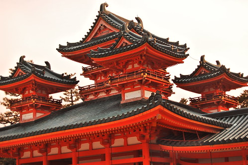 Detail of the roof of heian jingu