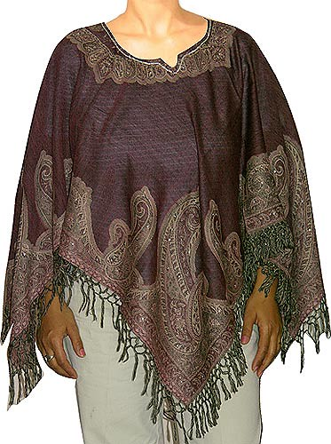 Ponchos Made of Woolen Shawls Elegant Paisley Designs with Jacquard Weaving  Handcrafted Womens Clothing From India (shalinfashions)