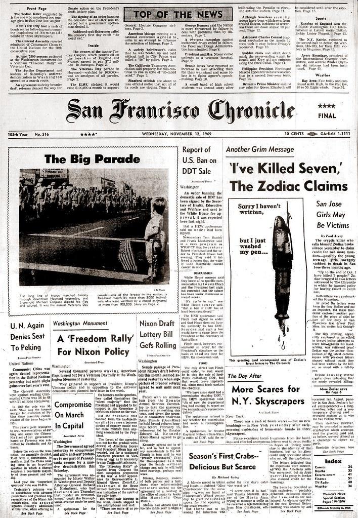 The Zodiac Insists He Has Killed More (November 12, 1969)
