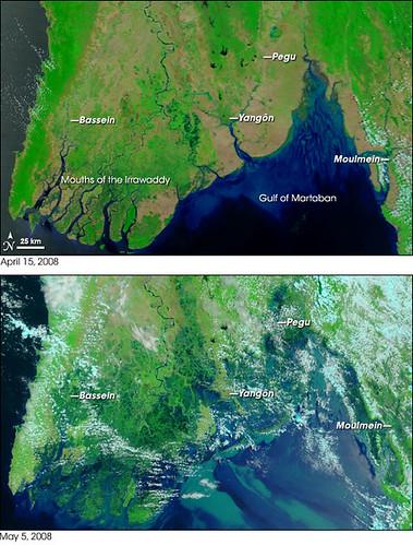 avant et après le cyclone Nargis