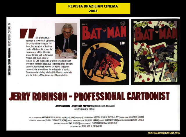 """Jerry Robinson - Professional Cartoonist"" - Revista Brazilian Cinema - 2003"