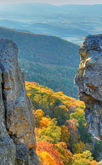 View between the rocks - Shenandoah National Park (Dwood Photography) Tags: park autumn trees man fall leaves october photographer little cliffs national excellent stony awards shenandoah 2007 blueribbonwinner supershot flickrsbest anawesomeshot diamondclassphotographer flickrdiamond amazingamateur top20autumn dwoodphotography dwoodphotographycom