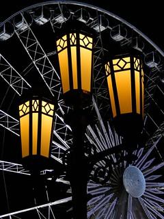 Belfast City Hall Street Lights and Belfast Wheel