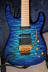 Chlorine Blue Jackson PC-1 guitar (ArtBrom) Tags: blue macro gold hardware maple nikon phil guitar gorgeous jackson axe strings d200 pickups pc1 chlorine 105mm floydrose collen sustainer curlymaple quiltedmaple 18v
